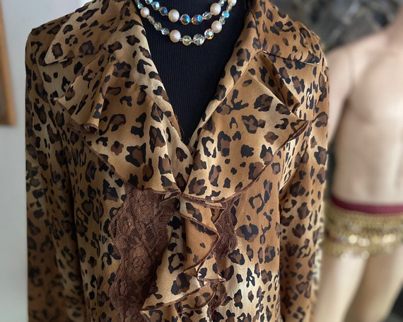 Cute Vintage 1980s Leopard Print Blouse from Alison Taylor