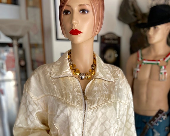 Vintage 1990s Cream Colored Silk Bomber bu FUDA International