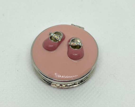 Adorable Tiny Pink Trinket Box with Baby Shoes and Diamante Accents