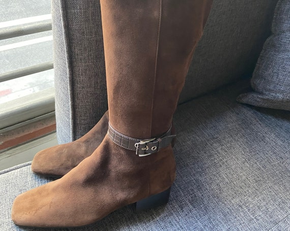 "Tall Brown Suede Riding Boots 15"" from Vaneli Size 6 1/2"