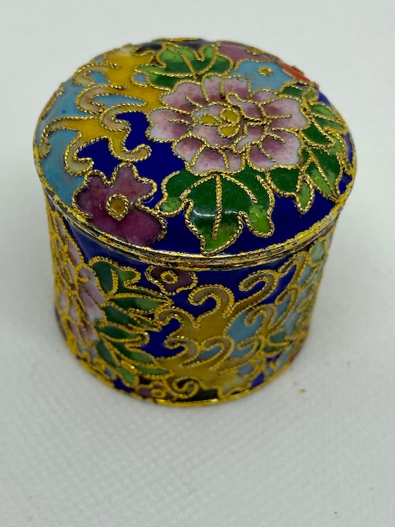 Pretty Blue and Gold Cloisonne Trinket Box