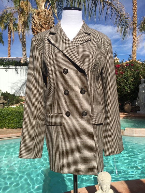 Vintage  Laundry by Shelli segal Wool Black and White Hounddstooth Jacket,Size 10.