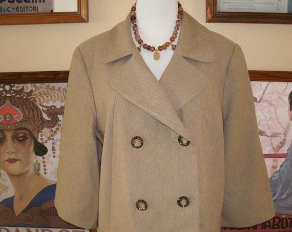 Stanley Blacker 80's Vintage Pantsuit,Herringbone Pattern,Swing Jacket Size 18.
