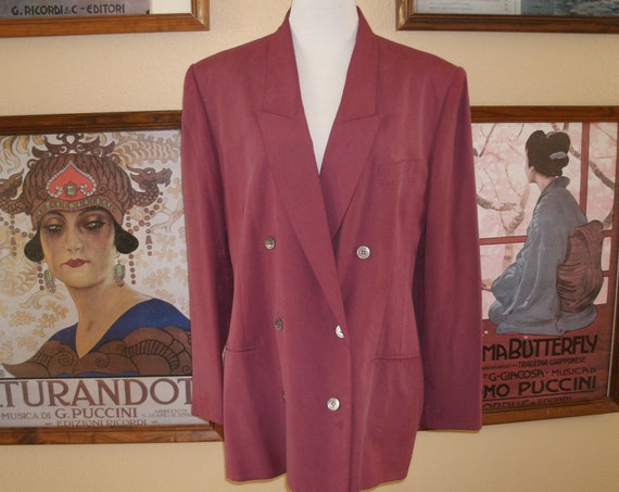 Beautiful Silk Lew Magram Collections New York 80's Double Breasted Blazer,Size 12.