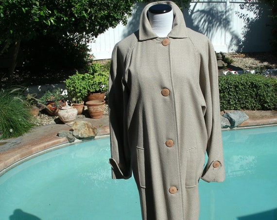 Vintage 90's Ann Taylor Wool Plaid Trench Coat.