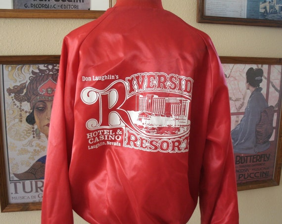Awesome Red Satin Riverside Hotel and Casino.Laughlin Nevada,Size Medium.