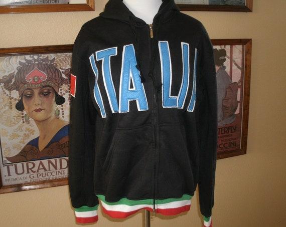 Italia Hooded Jacket,Full Front Zipper,Size Large.