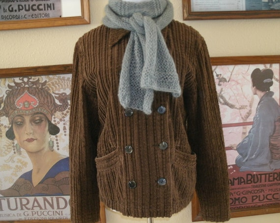 Cute Brown Corduroy Double Breasted Jacket,Size Medium.