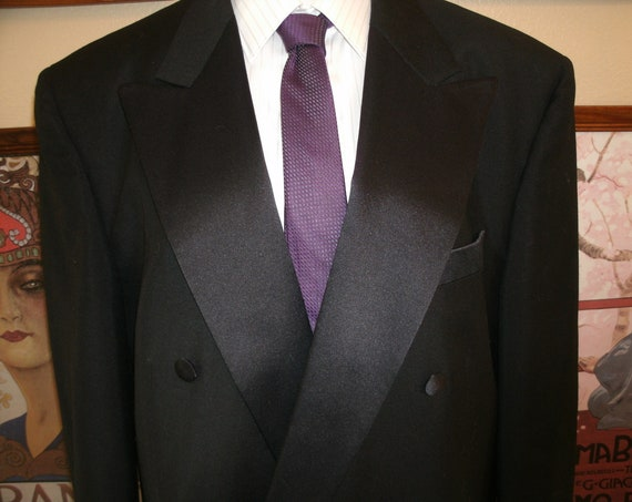 Classic Black Tuxedo Suit.Jacket and Pants,Belleson LeBaron's Clothes,Tailored in USA,Size 48R.