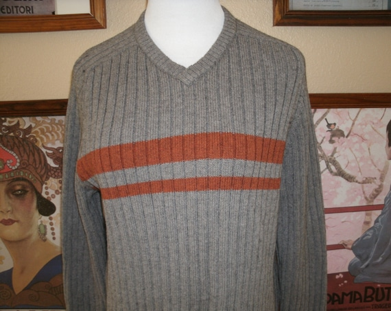 Gray With  Orange Stripes V Neck Cable Knit Sweater,American Eagle Outfitters,Size Medium.