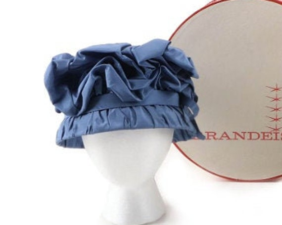 Fabulous 1960s Tufted Taffeta Blue Hat and Hat Box