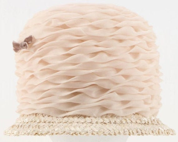 Beautiful Vintage 1960s Pleated Crinoline Straw Hat with Velvet Bow