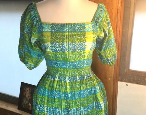 Cute Vintage 1950s Geometric Flowered and Green Striped Cabana Dress