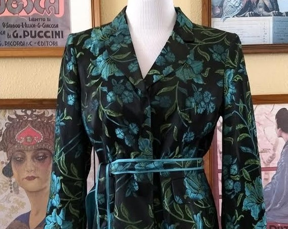 Lovely Nippon Boutique Black Jacket,Belted with Turquoise Floral Pattern,Size 8P.