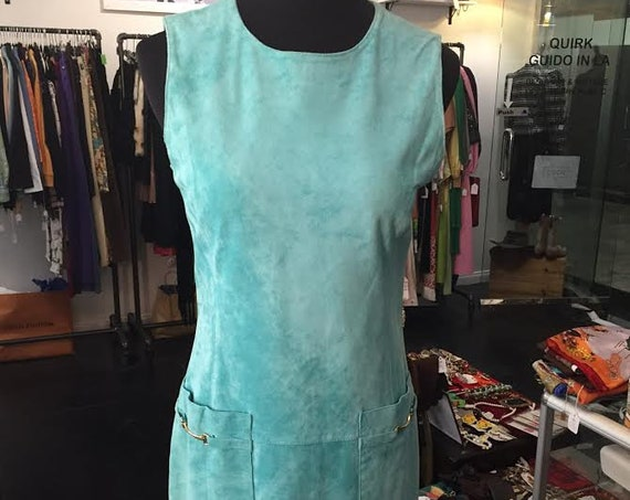 Adorable 1980s Turquoise Suede Erez Levy Tunic Dress Dead Stock with Tags