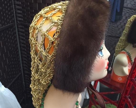 Stunning Mink and Metallic Gold Snood Head Dress Hat