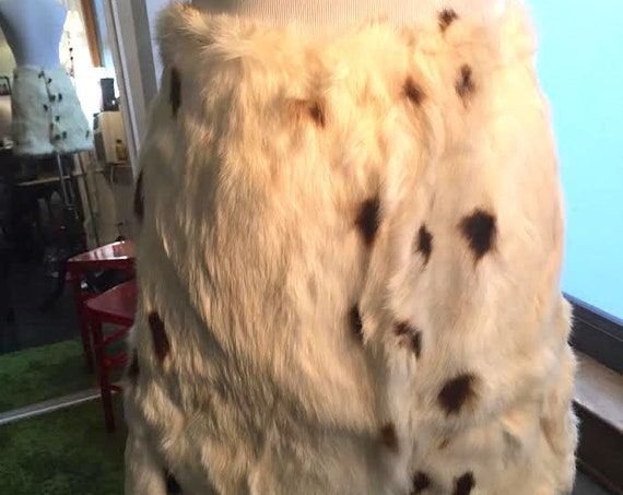 Vintage 1960s Spotted Rabbit Fur Skirt with Metal Zipper