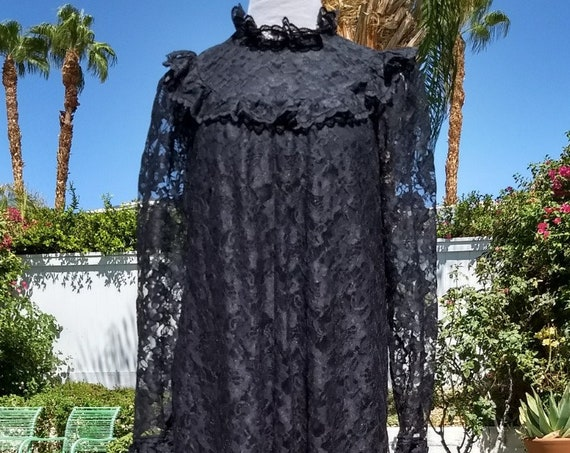 Beautiful Unique Moko Hawaii Black Lace Maxi Dress,Victorian Style.