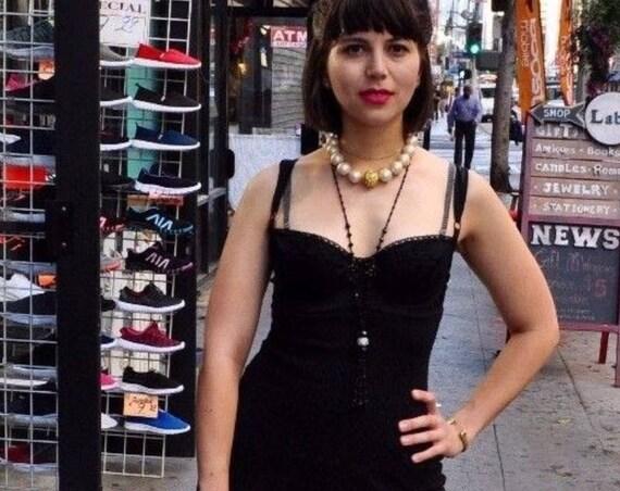 Vintage 1990s Iconic Dolce and Gabbana Black Knit Bra Dress Madonna
