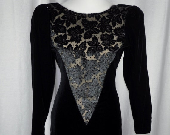 Vintage 1980s Black Velvet and Black Velvet Lace Niki Dress Sz 8,Prom/Evening Dress