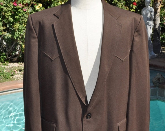 Vintage 1970s American Original Western Wear Men's Brown Blazer Jacket Sz 40R Made in USA