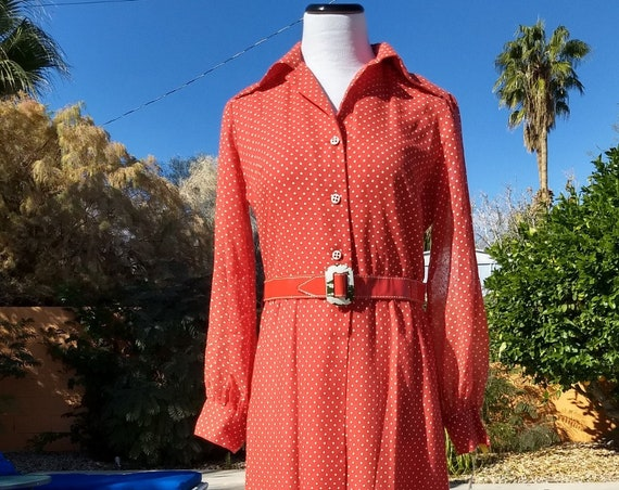 70's Western Fringed Red Polka Dot Dress with Belt