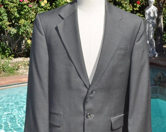 Men's Gray Plaid 100% Wool Blazer Jacket by Stafford Sz 42R