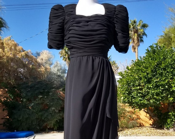 Gorgeous 80's Miss Elliette Black Chiffon Maxi Gown.