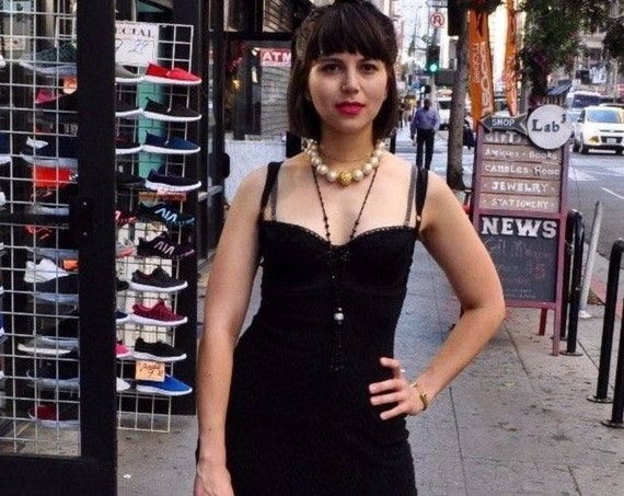 Vintage Iconic Dolce and Gabbana Black Knit Bra Dress,90's  Madonna