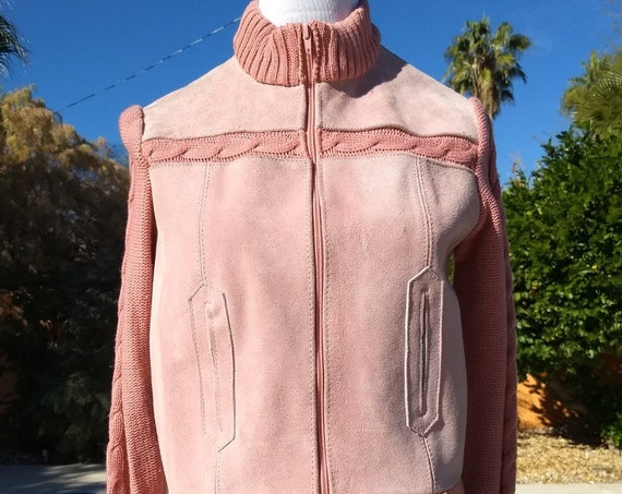 I. Magnin Pink Suede and Knit Jacket,Dead stock 70's Vintage Piece.