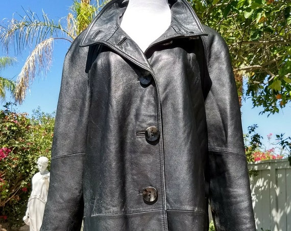 Genuine Lambskin Black Leather Coat, Size XL.