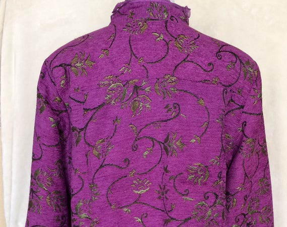 Vivid Purple, tweed ,jacket with floral pattern,Size large.Lace Embellishments,Alex Kim