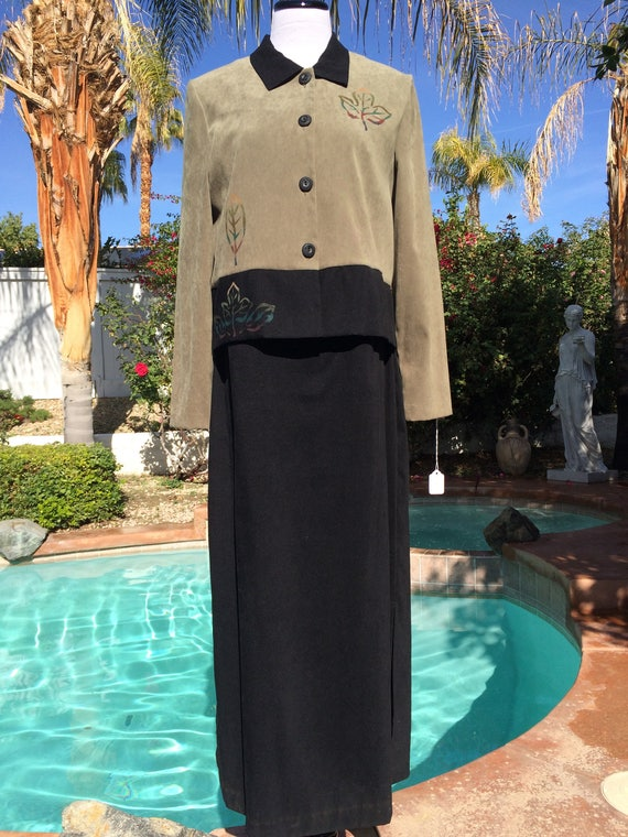 Vintage 90's Miss Dorby Maxi dress and Jacket Set,Micro Suede, Size 12,90's School Teacher Look.