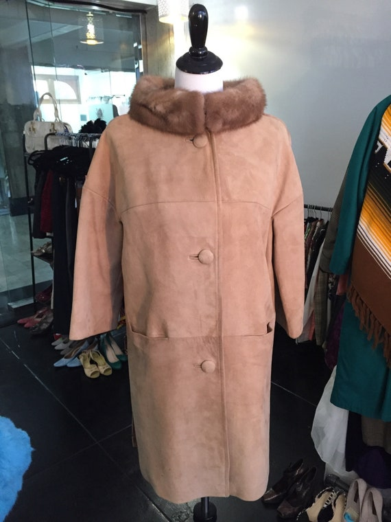 Stunning Vintage 1960s Suede and Mink Driving Coat