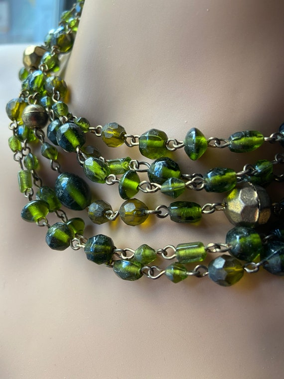 Vintage 1960s Green and Gold Glass Bead and Gold Toned 4 Strand Choker Necklace