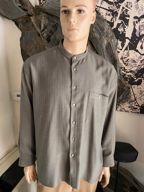 Awesome 1990s Pierre Cardin Men's Button Up Collarless Oxford Shirt Size XL