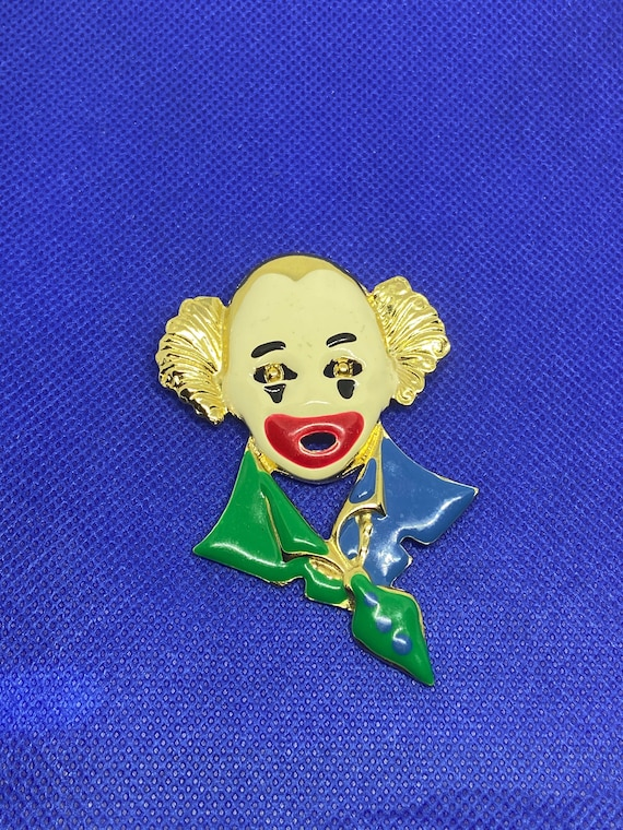 Cute Creepy Painted Clown Brooch Pin