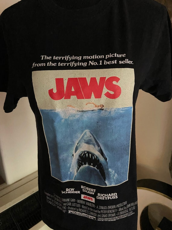 Black Jaws Film Poster Tee Size Small