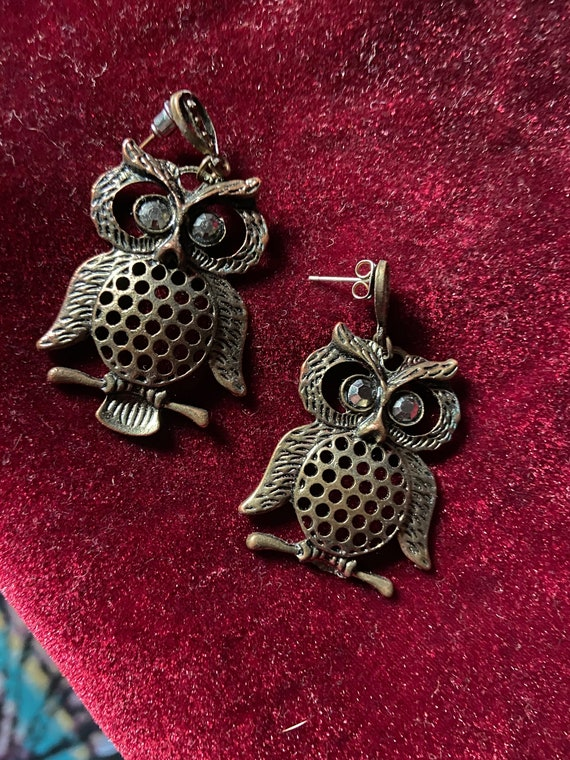 Vintage 1970s Fantastically Oversized Owl Earrings