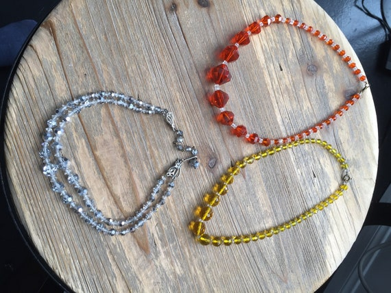 Gorgeous 1960s Vintage Glass Bead Necklace Lot of 3 in Orange, Yellow, and Silver