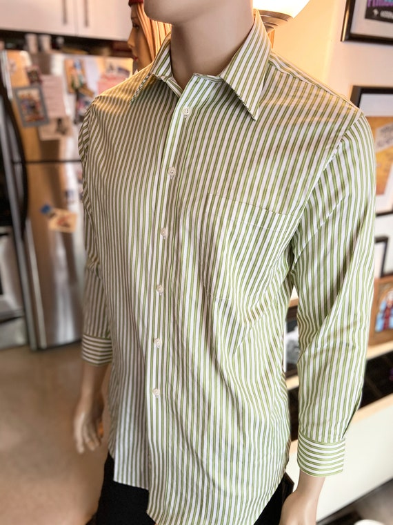 Men's Paul Frederick Green and Whited Striped Collared Button Down Shirt Sz 15 1/2