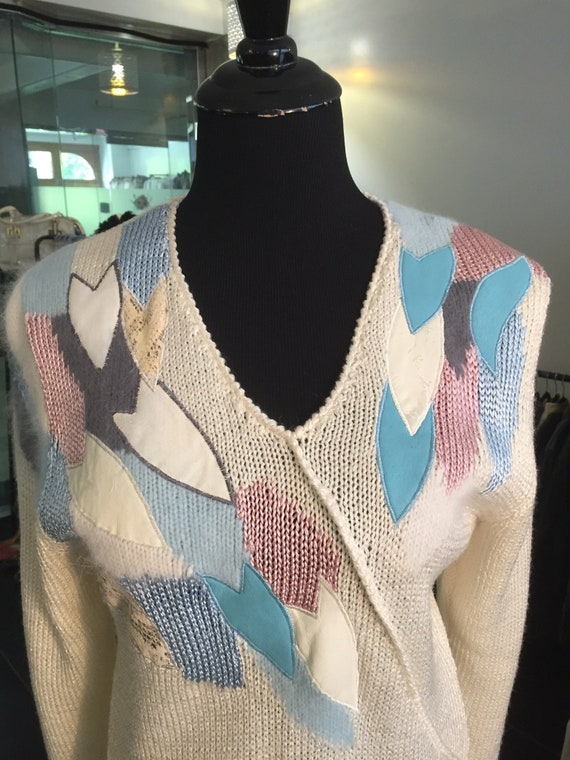 Amazing Blue Pink and Cream Vintage 1980s Sweater with Pleather Patches and Hints of Angora