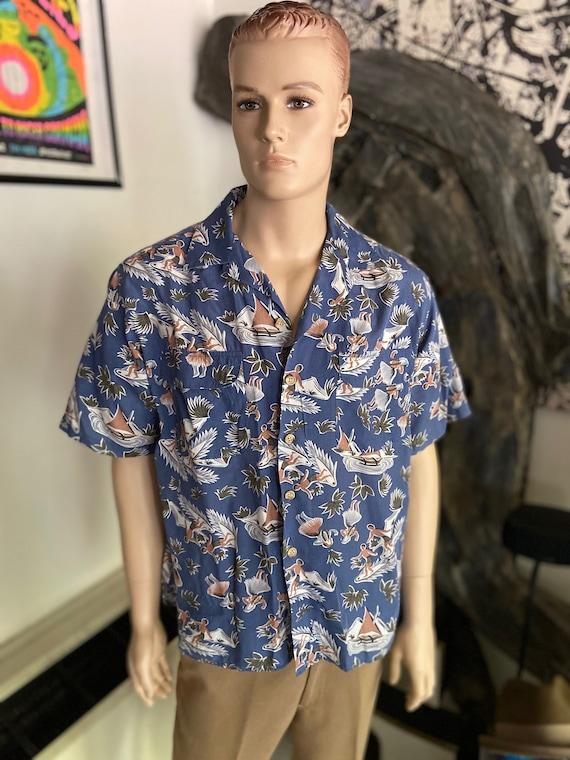 Guess Hawaiian Shirt with Surfer and Hula Dancer Motif Size Large