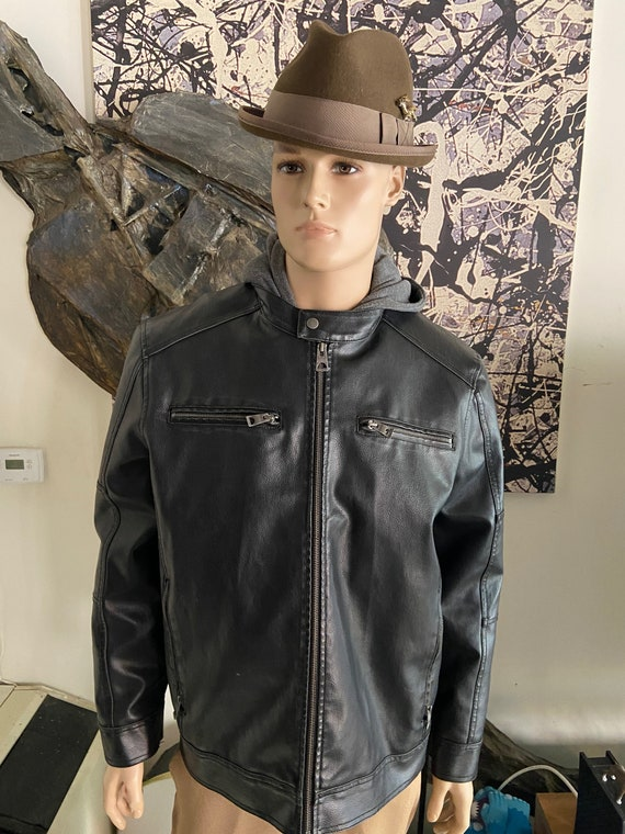 Men's XXL Guess Leather Jacket with Detachable Hooded Liner