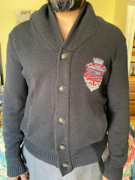 Cute Triumph Motorcycle Shawl Collared Cardigan Sweater Sz L