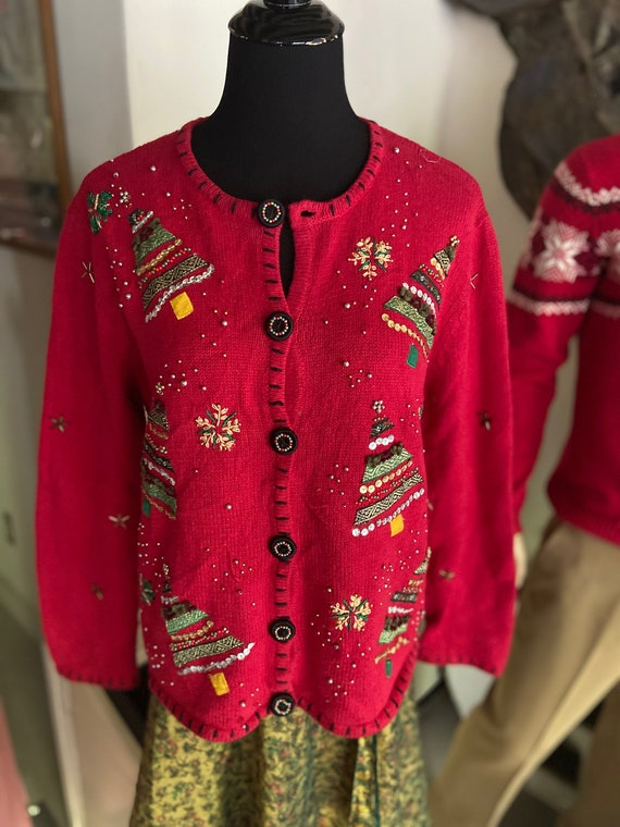 Super Cute Red Christmas Cardigan Sweater with Christmas Tree Motif Size Petite Large