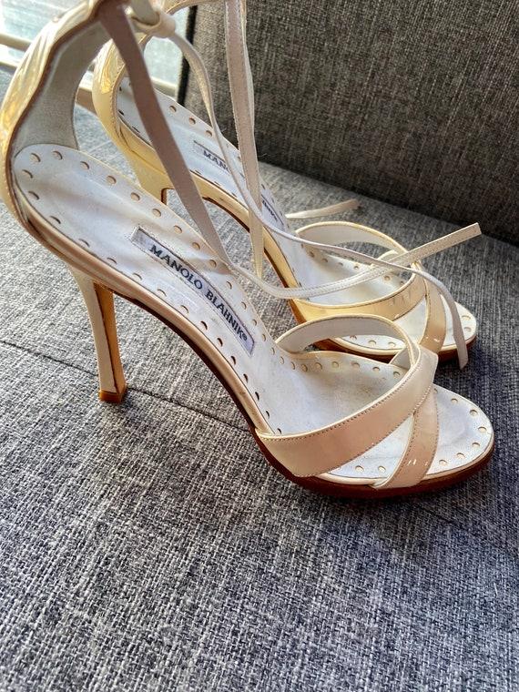 1990s Manolo Blahnik Strappy Cream Heels Size 36.5