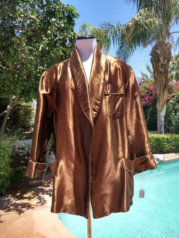 Ralph  Lauren Blue Label, Luxurious , 100% Silk ,90's, Copper Colored Smoking Jacket/Vintage Jacket.