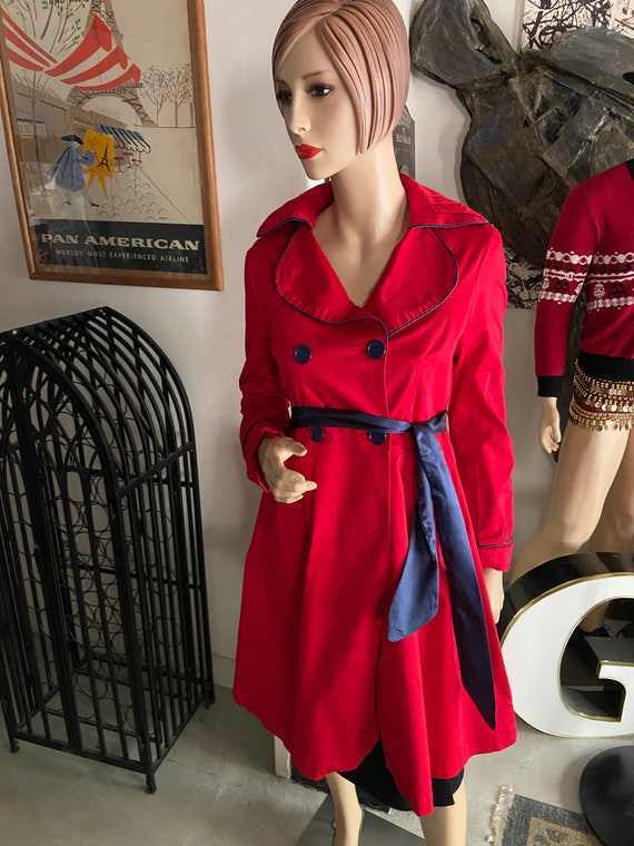 Beautiful Bright Red Trench Coat with Blue Satin Sash and Accents from Papillon