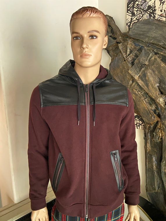 Awesome Maroon and Black Marc by Marc Jacobs Jacket with Leather Hood and Yoke